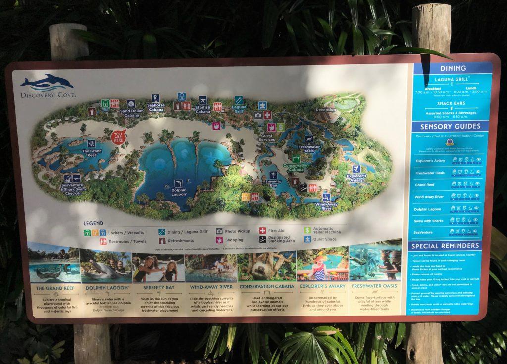 Mapa do Discovery Cove encontrado no próprio parque em Orlando - Foto: divulgação