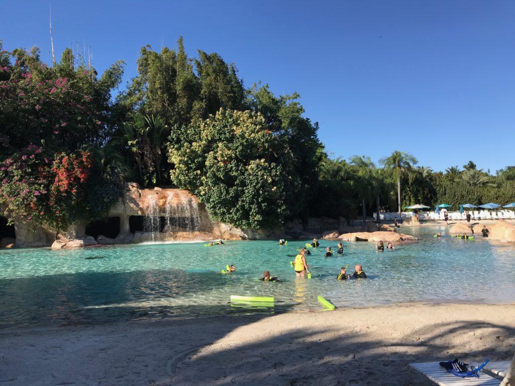 Área de praia artificial para nado no Discovery Cove, com areia, queda d'água, árvores ao fundo e banhistas no lago