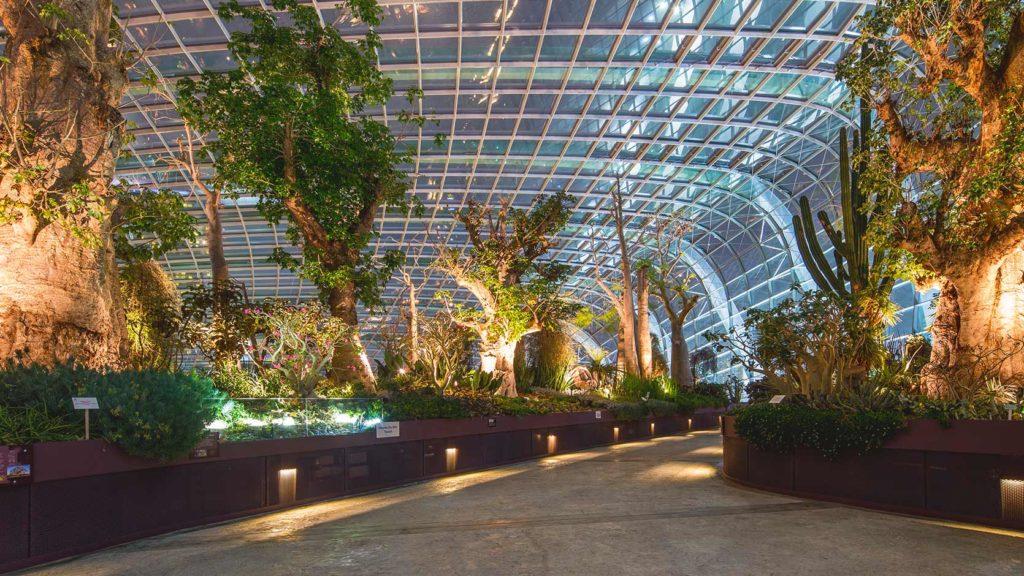 O Flower Dome no Garden by the Bay em Singapura