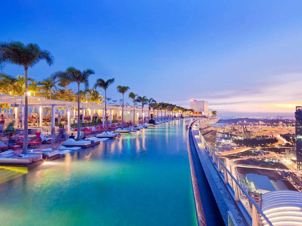 A famosa piscina do Marina Bay Sands