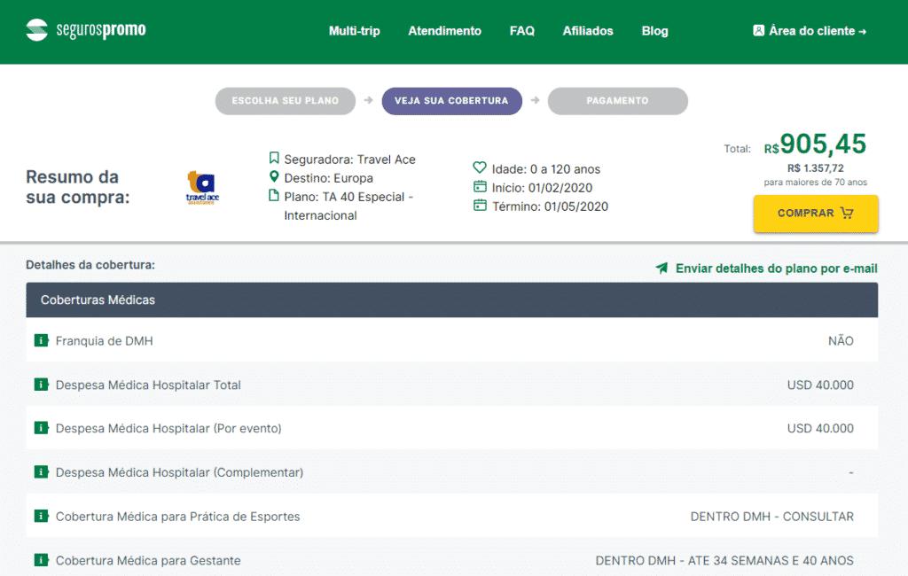 Tela de detalhamento do seguro viagem no site Seguros Promo, antes de realizar a compra do seguro viagem estudante