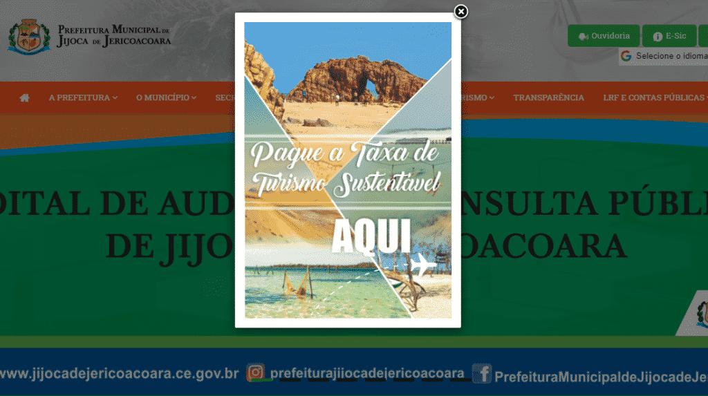 Print do site da prefeitura de Jijoca de Jericoacoara com banner para pagamento da taxa de turismo da região
