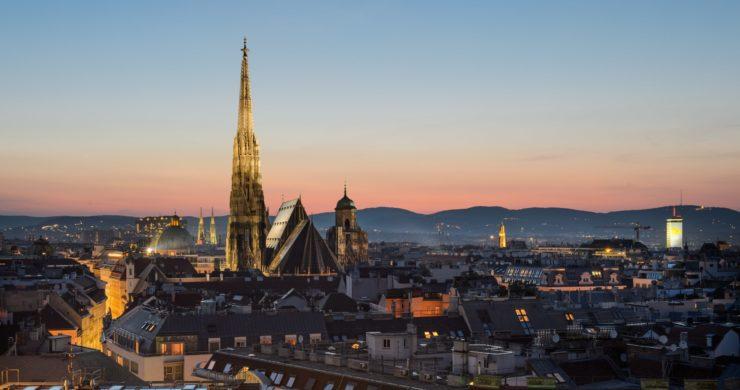 Foto de pôr do sol em Viena, na Austria