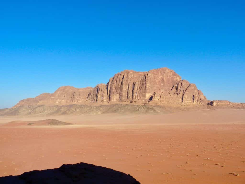 Formação rochosa no deserto de Wadi Rum, em Aqaba