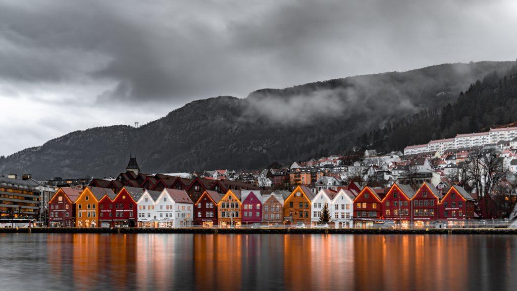 Bryggen em Bergen na Noruega