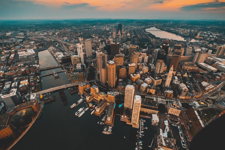 vista aerea da cidade de boston