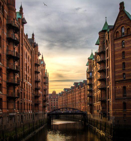 Região de Speicherstadt em Hamburgo na Alemanha