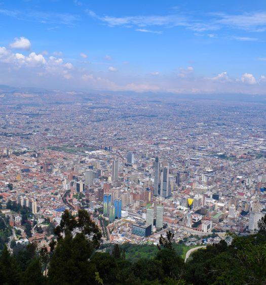 Visão panorâmica da cidade de Bogotá, na Colômbia