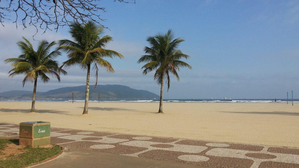 Orla da praia do Embaré, com coqueiros e calçada