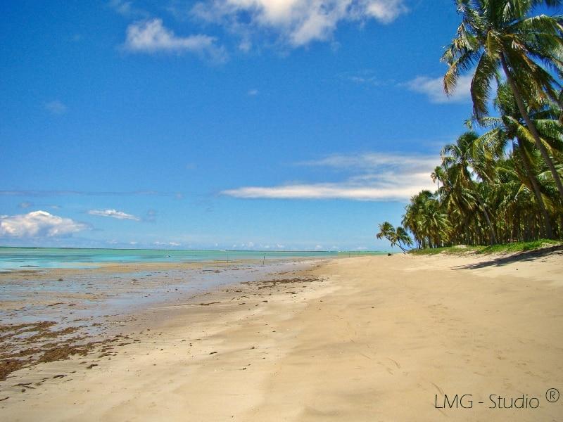 Orla vazia na praia, em dia de maré recuada