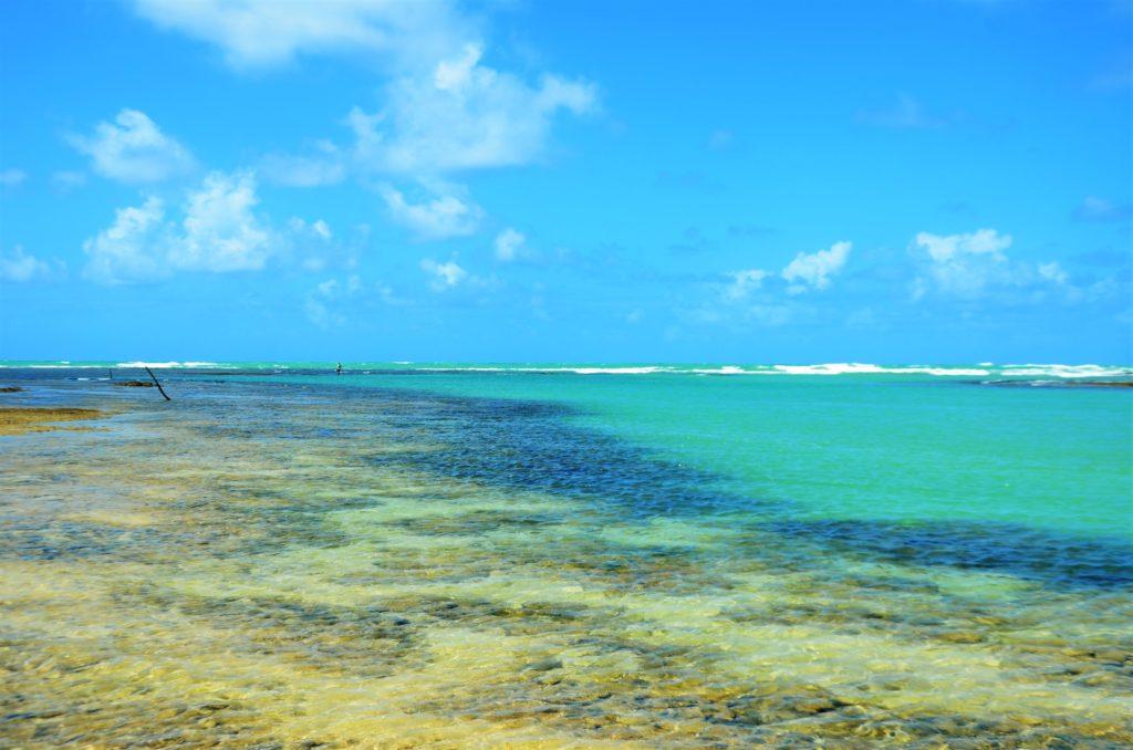 Mar colorido em tons de verde, azul e terroso em São Miguel dos Milagres