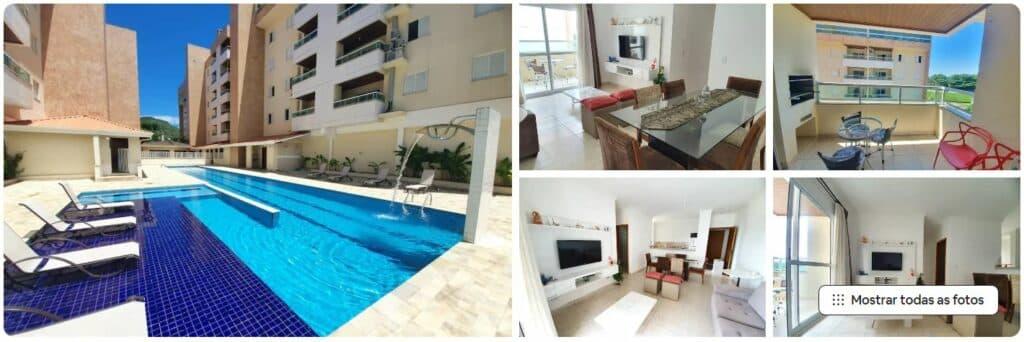 Piscina e cômodos no Airbnb Amplo Apartamento Praia das Toninhas