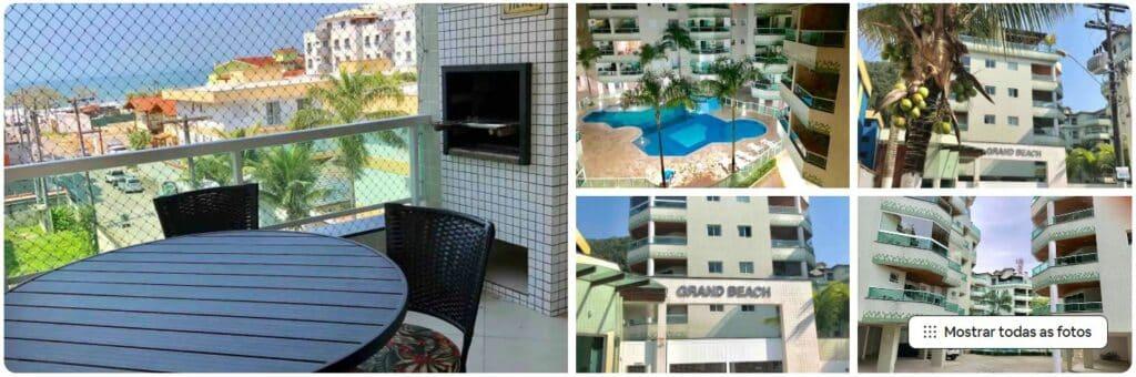 Fotos da varanda e condomínio Grand Beach, uma das opções de Airbnb na Praia Grande de Ubatuba