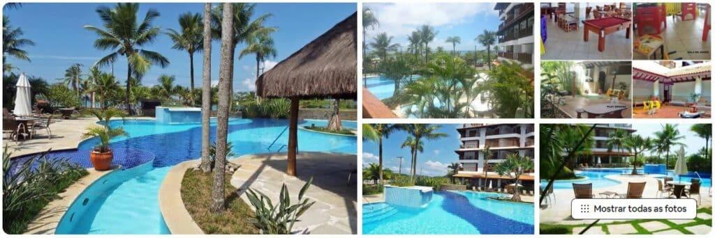 Fotos de piscina e espaço comum no Apto em excelente condomínio frente para a Praia Grande