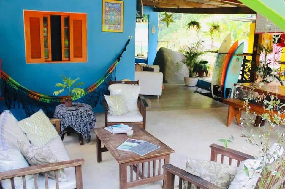 Área comum no Bamboo Groove Hostel