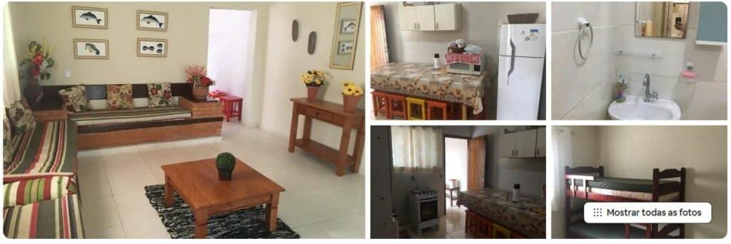 Confortável sala e cômodos da Casa aconchegante a 250 metros da praia do Lázaro