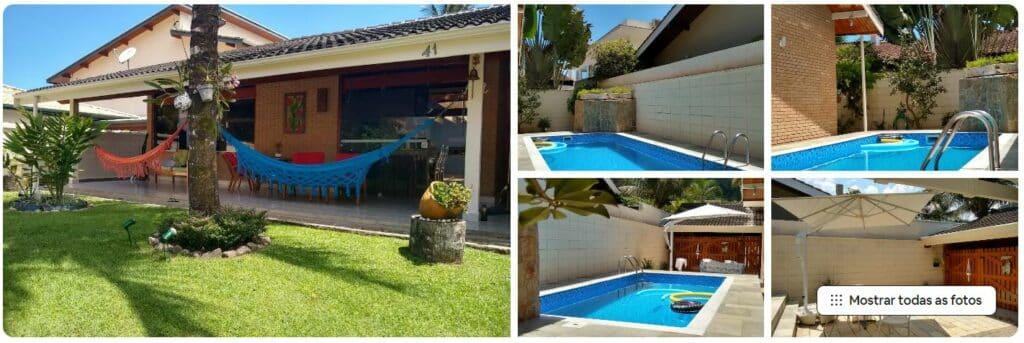 Redes e piscina no quintal da Casa Astral Lázaro