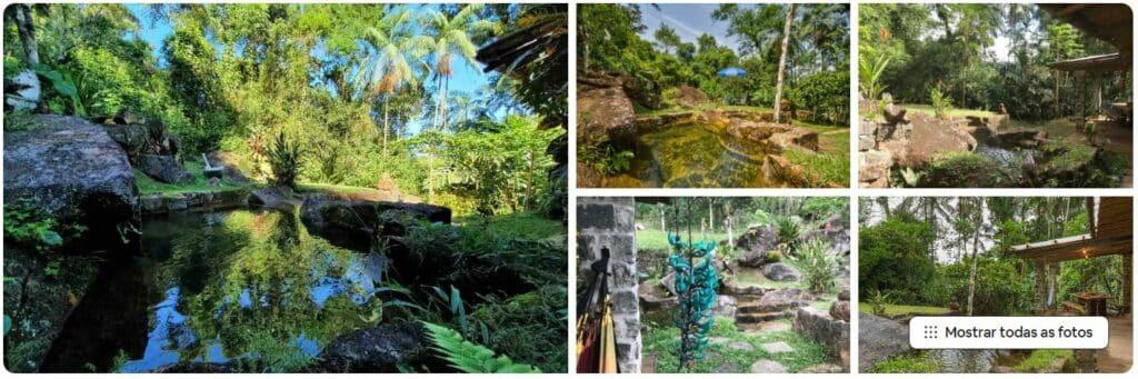 Piscina natural e área verde do Airbnb Casa das Pedras