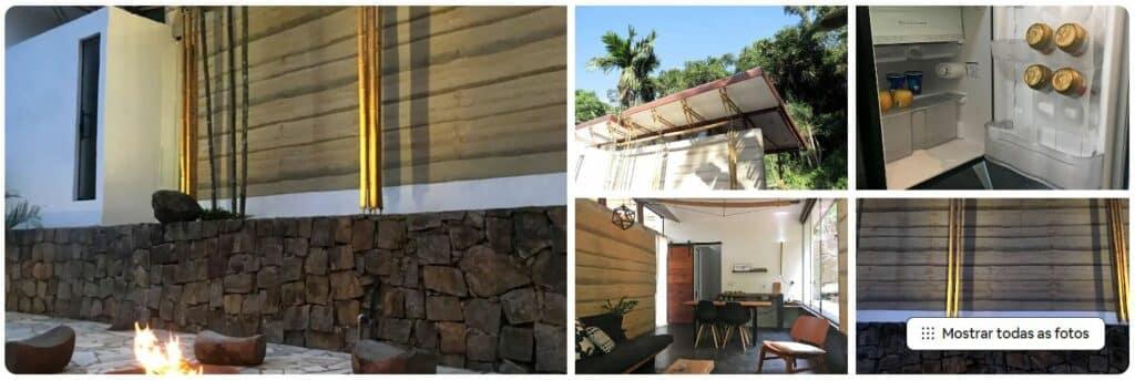 Áreas e detalhes do Airbnb Casinha de bambu