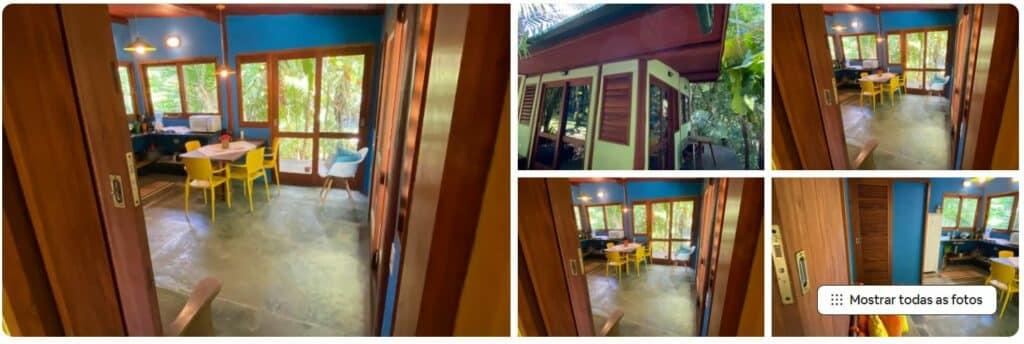 Espaços internos da Casinha do Morro, um dos Airbnb em Ubatumirim