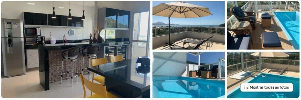 Airbnb Cobertura com piscina particular de frente pro mar na Praia das Toninhas