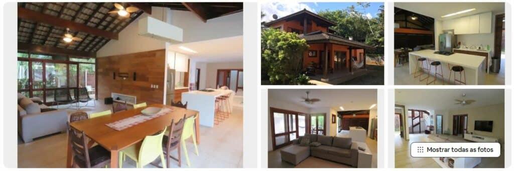 Sala e espaços do Airbnb Itamambuca com vista para o mar