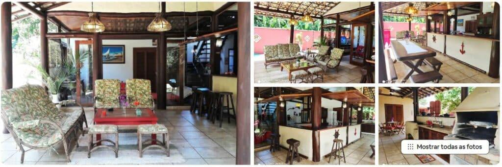 Sala e ambientes do Airbnb Pé na Areia - Confortável, espaçosa e estilosa