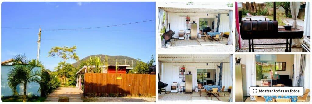 O charmoso Airbnb Suíte Container Cozinha Externa Rústica