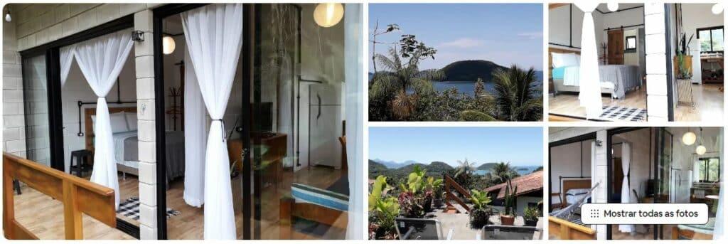 Acomodação de Airbnb para casal, com vista privilegiada de terraço para o mar em Prumirim