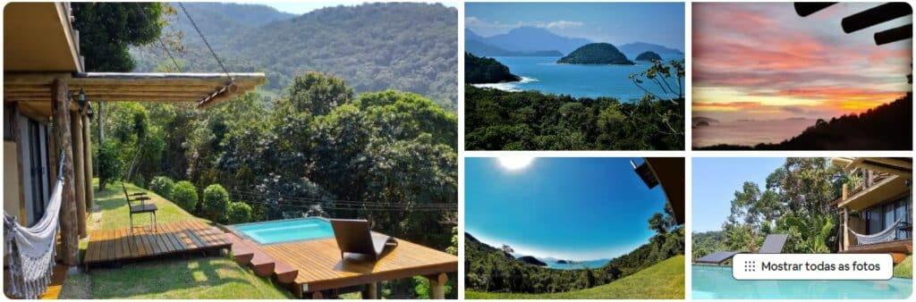 Fotos do quintal com piscina e da vista da Ypê House na Praia do Félix