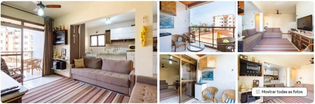 Sala aconchegante e sacada no Airbnb Apartamento para temporada em Ubatuba