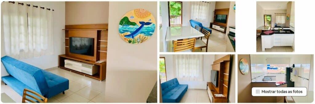 Sala agradável no Apto 2 Qtos, um dos Airbnb no centro de Ubatuba
