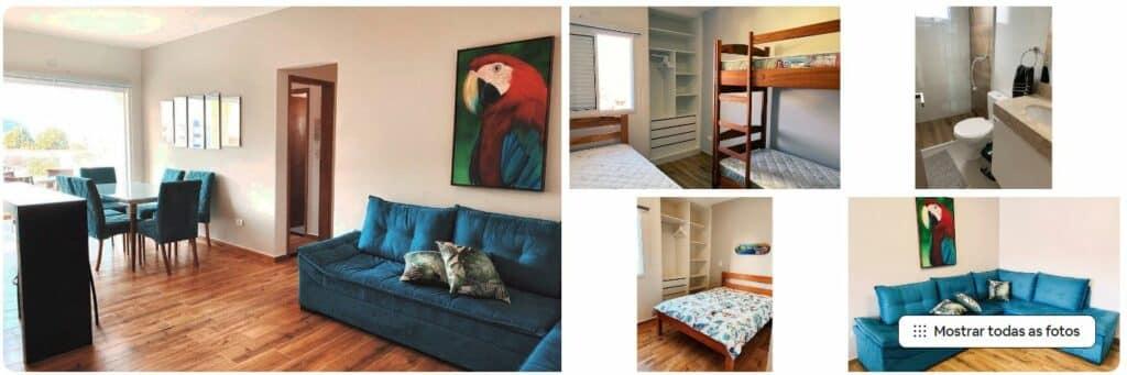 Sala confortável e quartos bem equipados no Airbnb Alto Padrão 2 Qts
