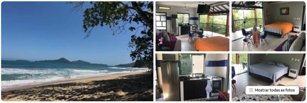 Vista do mar e fotos do Estúdio com vista para a Ilha Anchieta