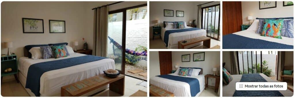 Fotos de cama ampla e ambiente aconchegante na Suíte D&K