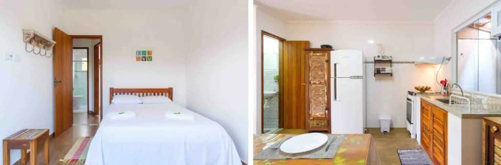 quarto e cozinha do airbnb Airbnb Recanto do Jabaquara em Paraty