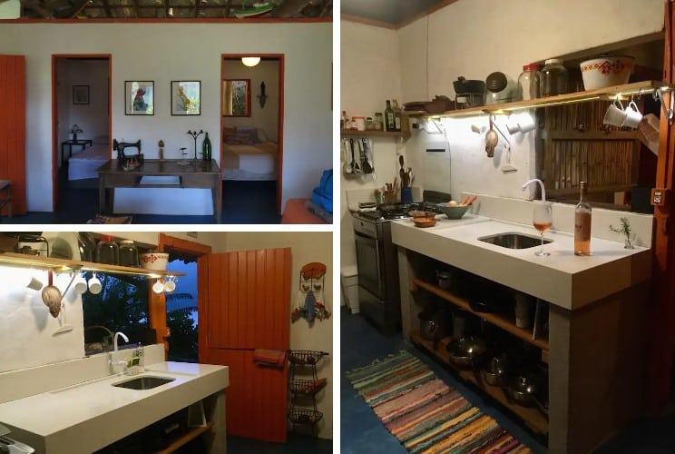 quarto e cozinha da Casa Charmosa no Saco do Mamanguá