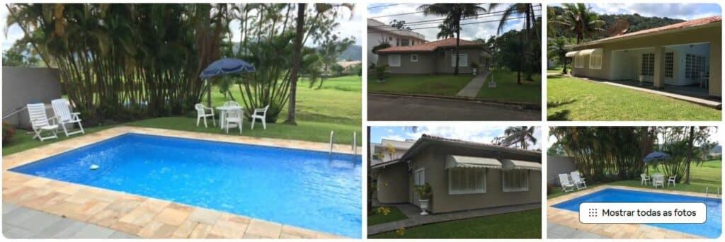 Fotos da piscina e parte externa de Airbnb no Condomínio Costa Verde, na Praia de Tabatinga, em Caraguatatuba
