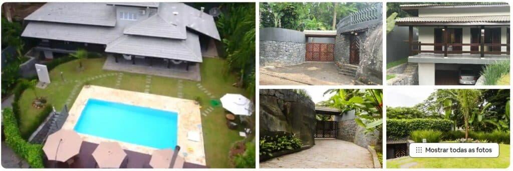 Piscina, fachada, jardins e parte externa do Airbnb Casa da Pedra Alto Padrão Tabatinga-Ubatuba