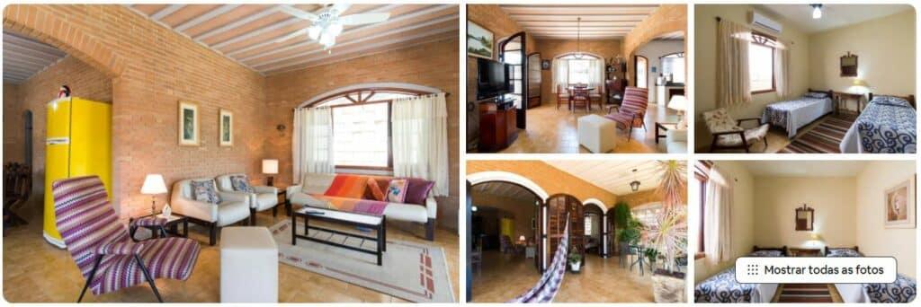Fotos dos ambientes internos na Casa da Praia Super Ampla e Fresca