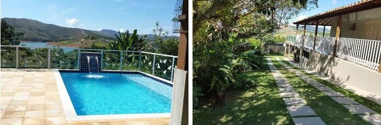 piscina e entrada gramada da casa ponta do sol