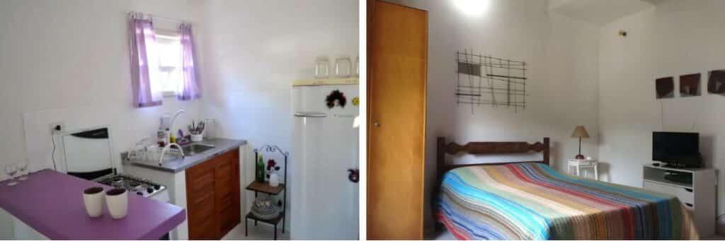 quarto e cozinha do Belo Chalé Próximo ao Centro de Paraty