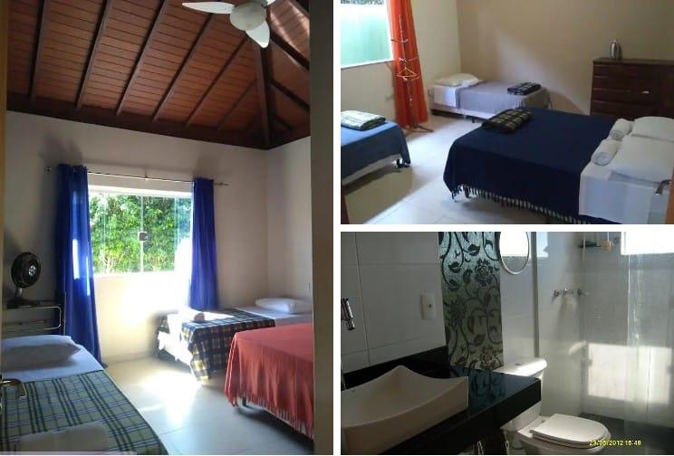 quartos e banheiro da casa confortável em escarpas do lago