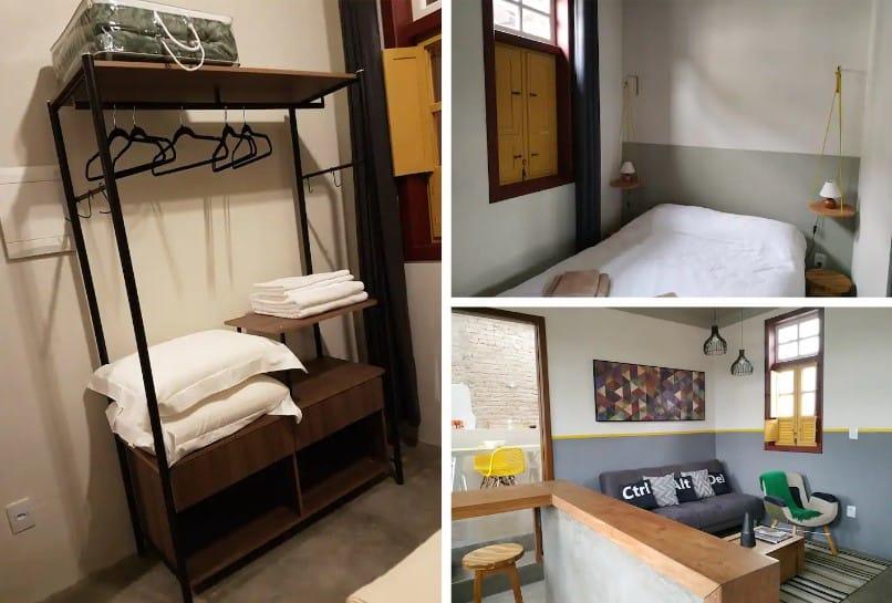 quarto e sala da Casa Charme, Conforto e Modernidade