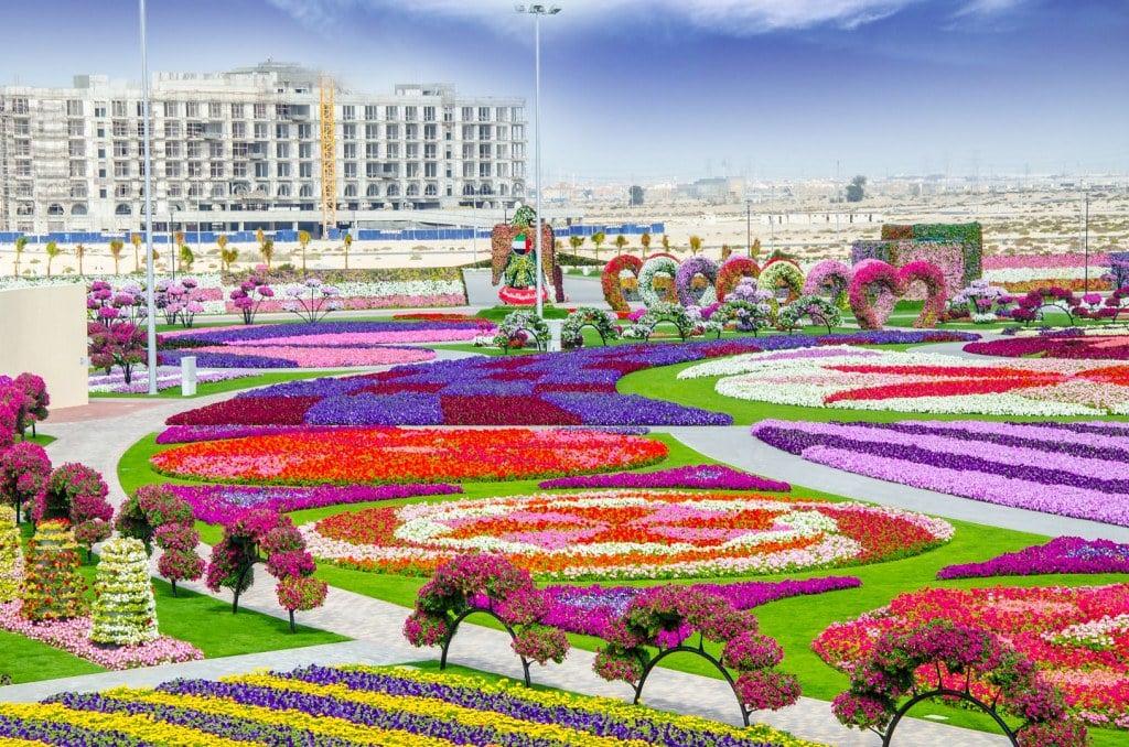 Jardim com flores super coloridas, o Dubai Miracle Garden é uma das opções de o que fazer em Dubai