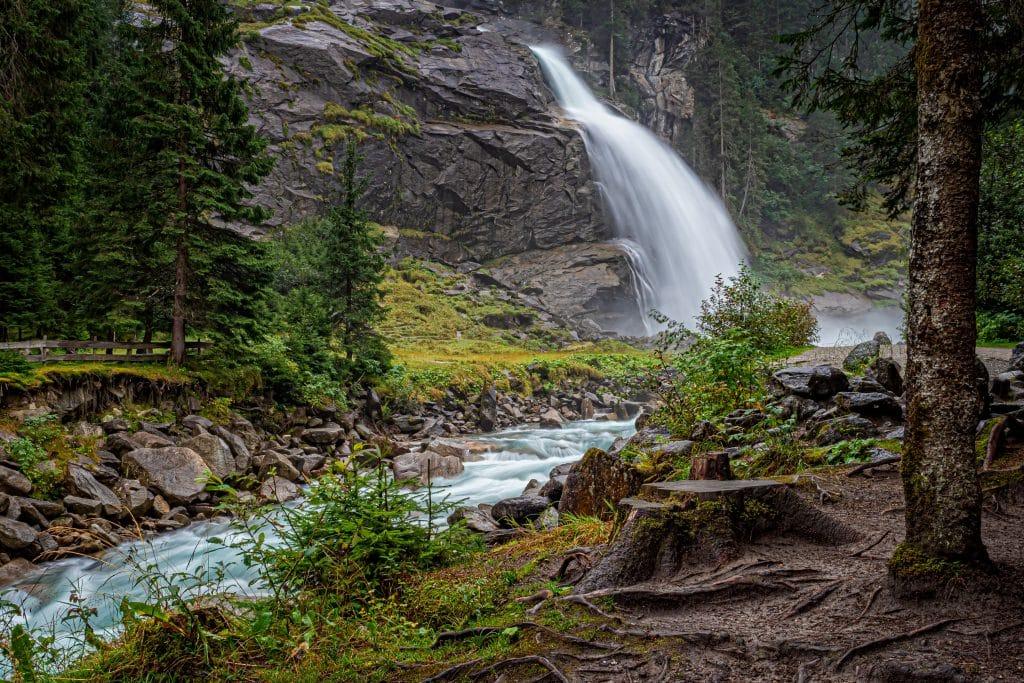 Krimmler Wasserfälle nos pontos turisticos da austria